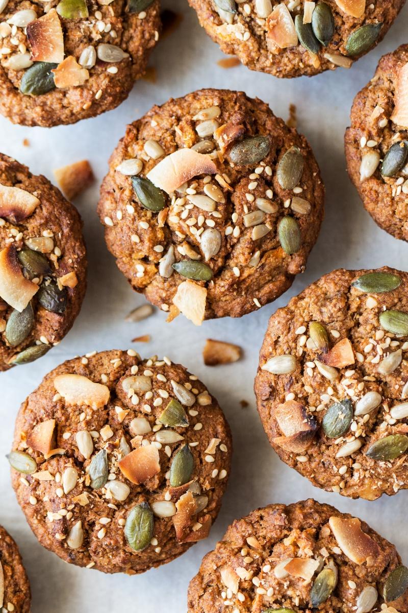 vegan carrot muffins top down