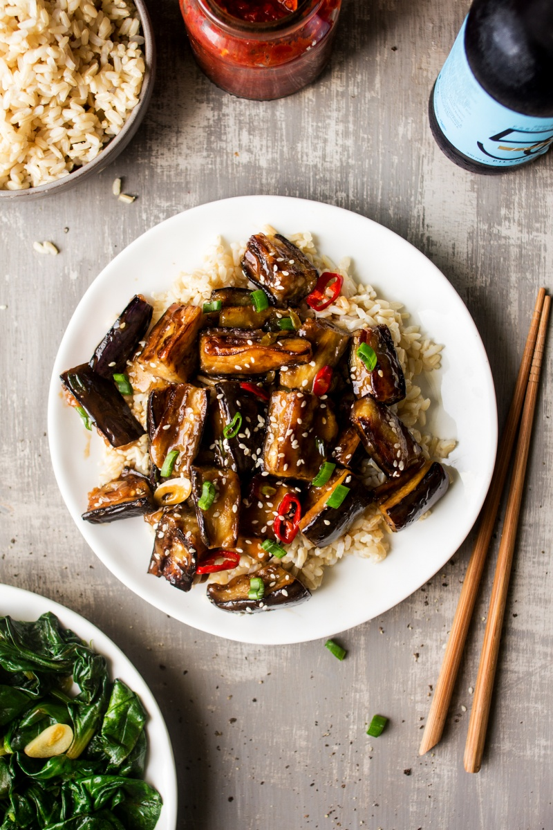vegan chinese aubergine dinner