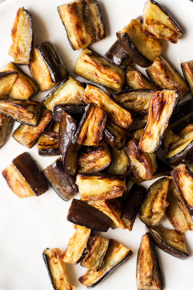 vegan chinese aubergine fried pieces
