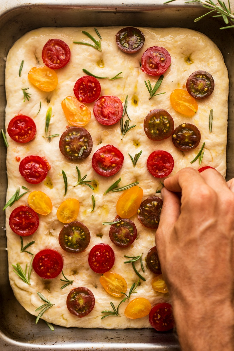 vegan focaccia before baking