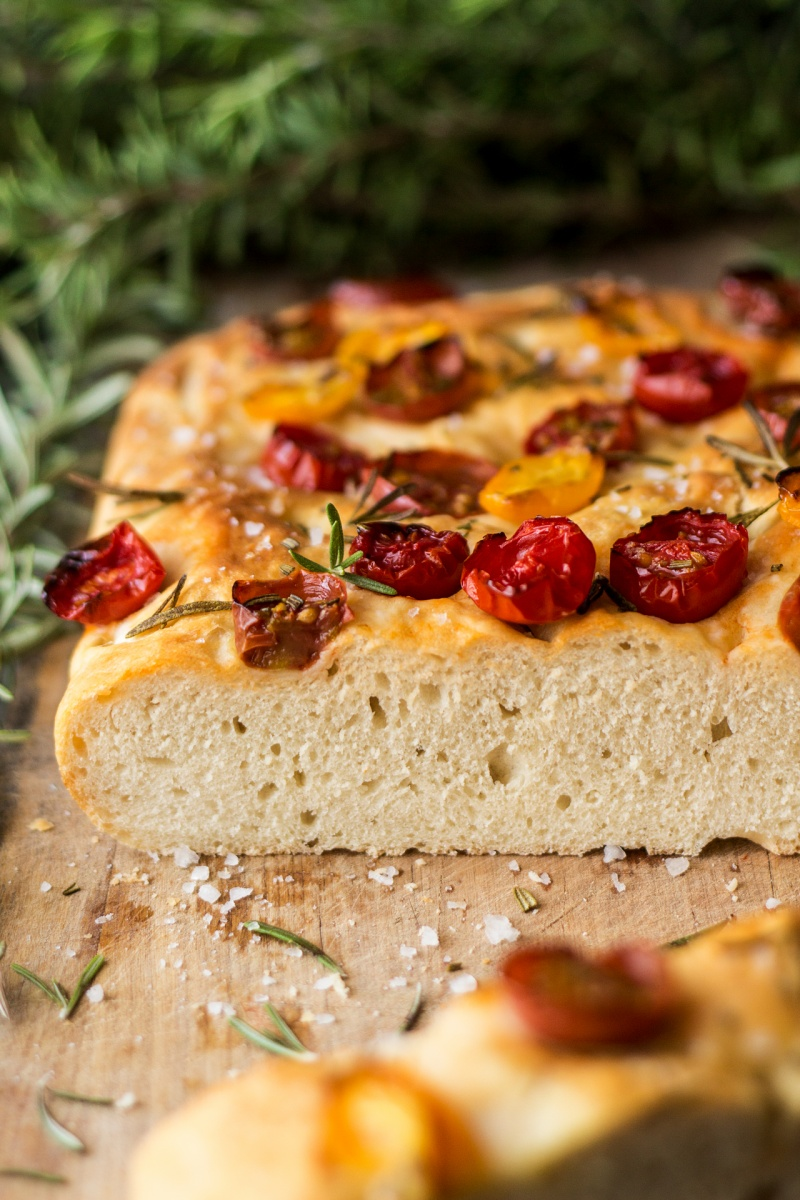 vegan focaccia cross section