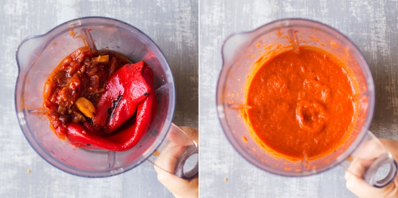 vegan roasted pepper sauce before after