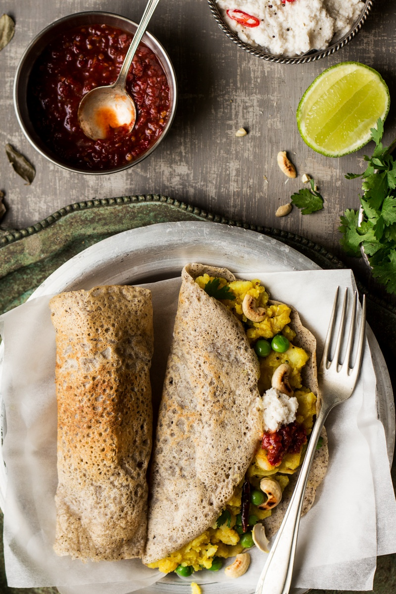 vegan masala dosa portion