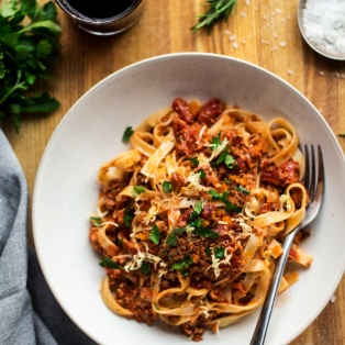 vegan bolognese lunch
