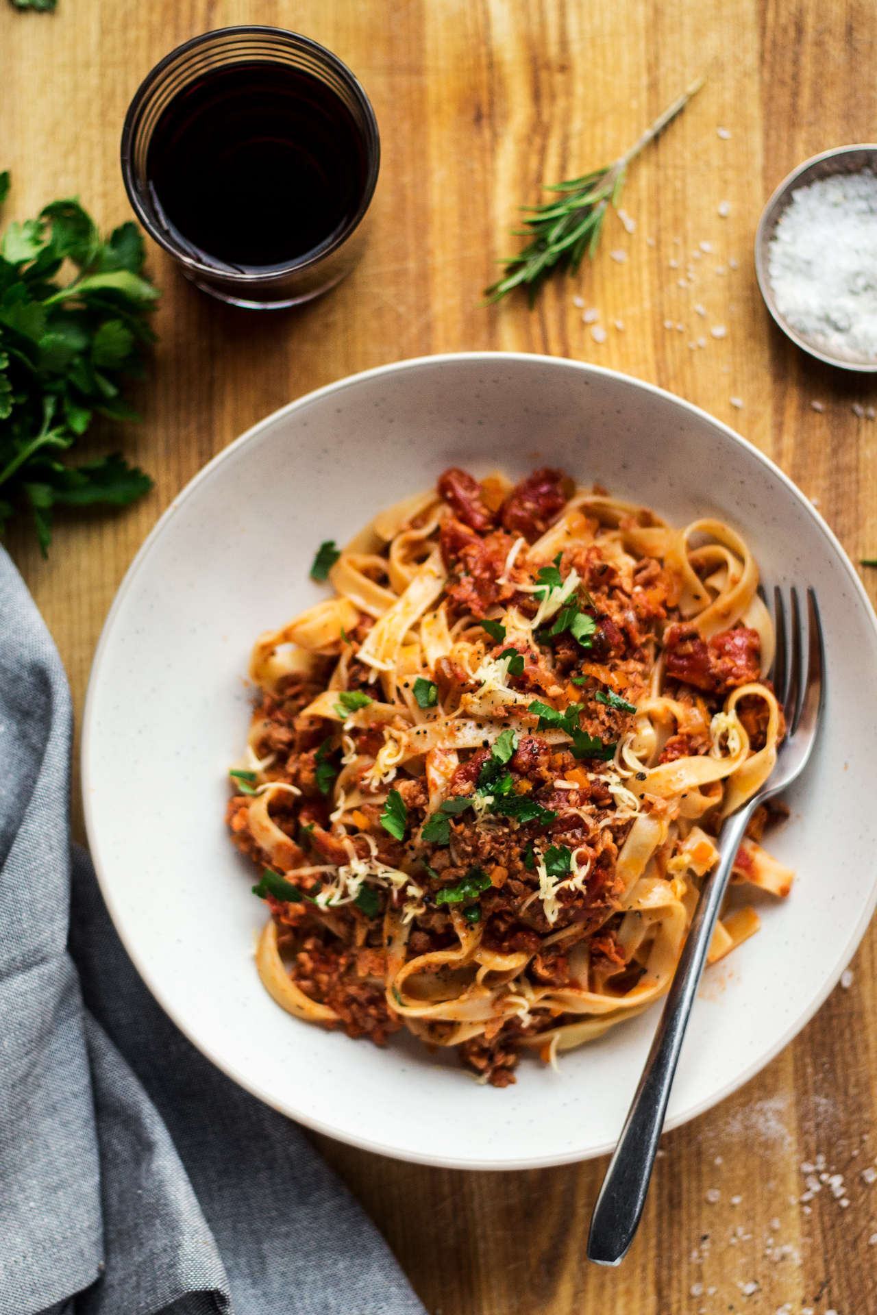 Vegan Bolognese With Tagliatelle Lazy Cat Kitchen
