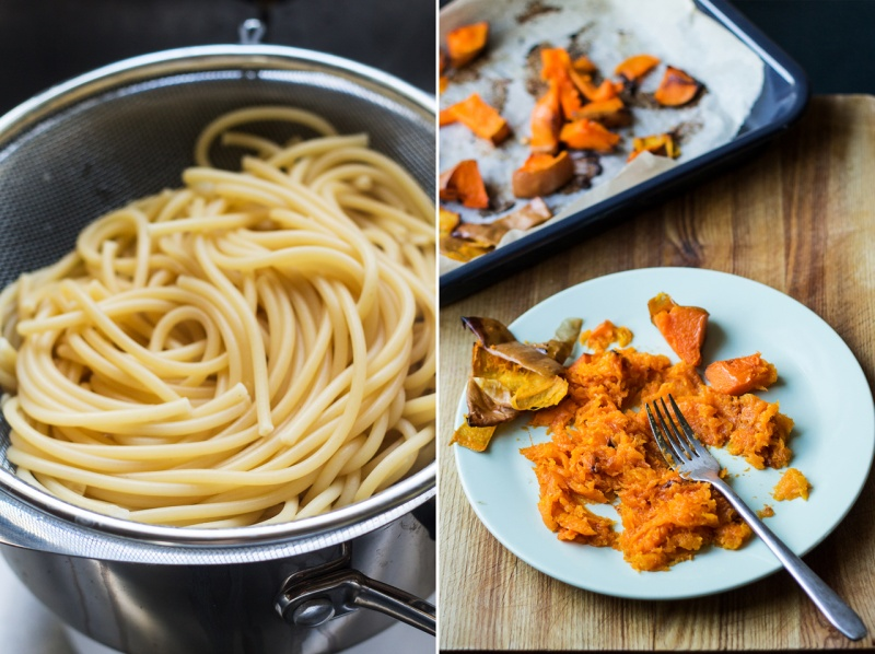 miso pumpkin pasta prep