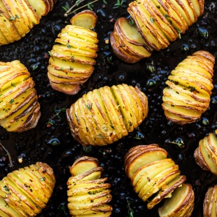 vegan hasselback potatoes top down