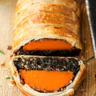vegan squash wellington cut