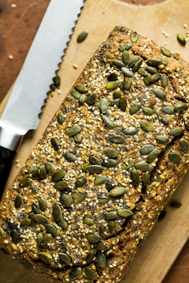 gluten free multiseed bread baked