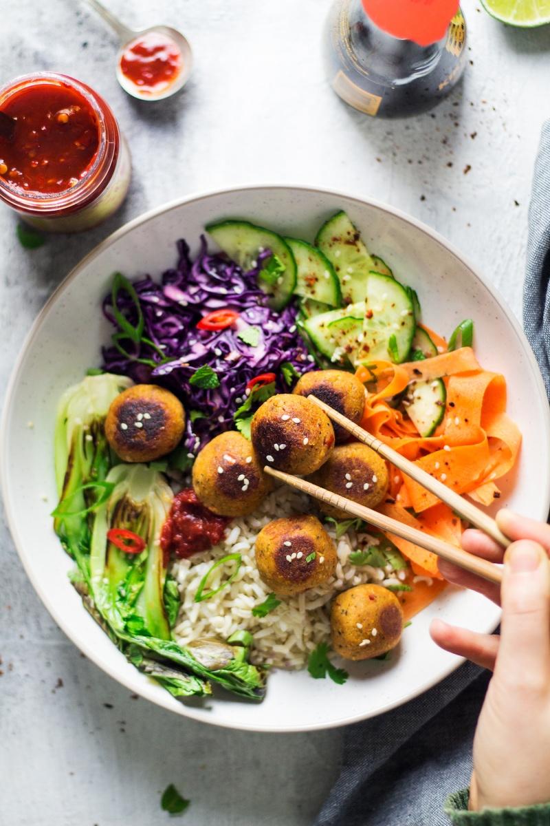 vegan asian meatball bowl