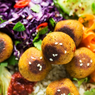 vegan asian meatball lunch close up