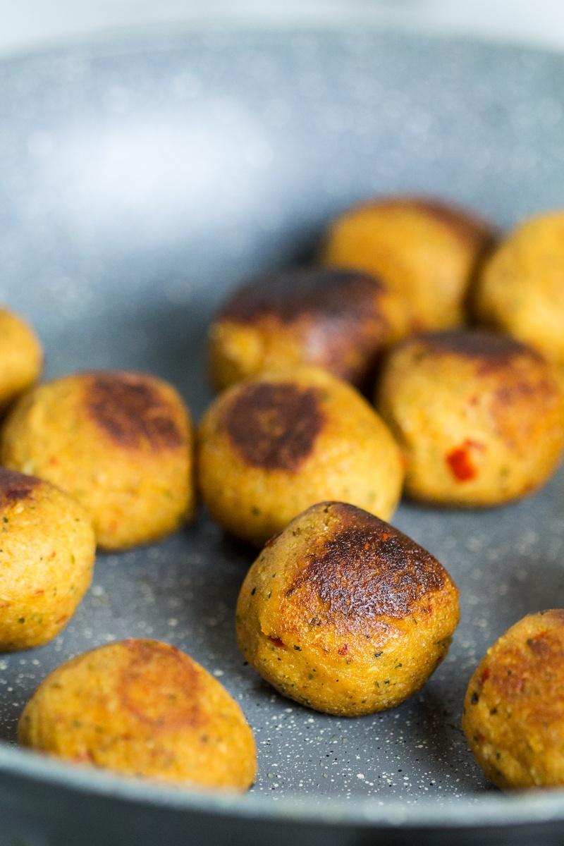 vegan asian meatballs pan