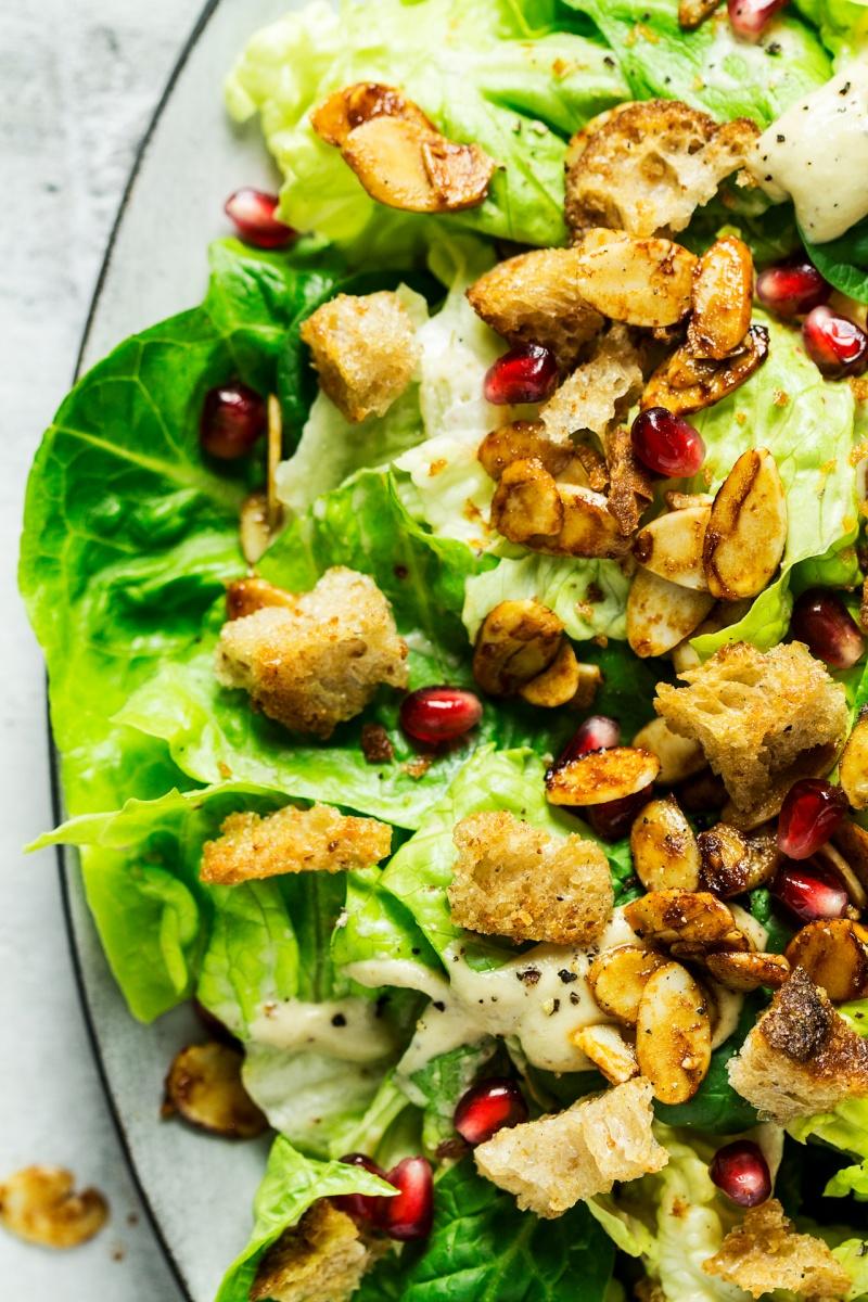 vegan caesar salad close up