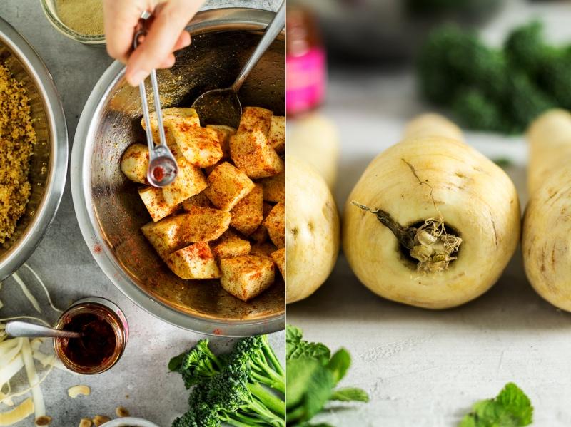 vegan couscous salad parsnip prep
