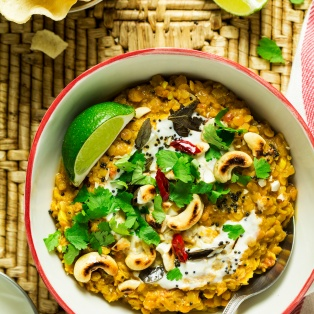 vegan red lentil dhal portion