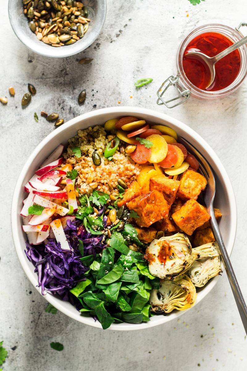 sunny veggie bowl harissa dressing
