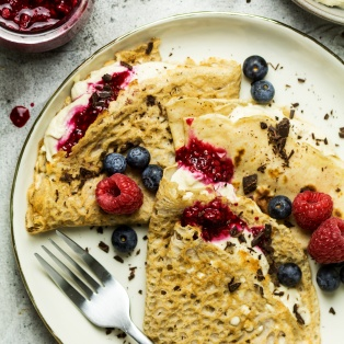 vegan crepes stack plate