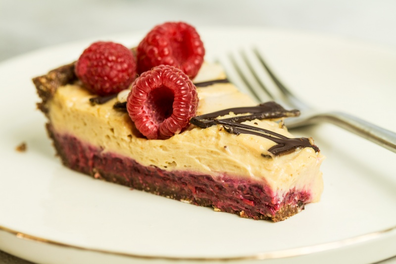 vegan peanut butter mousse jelly tart slice