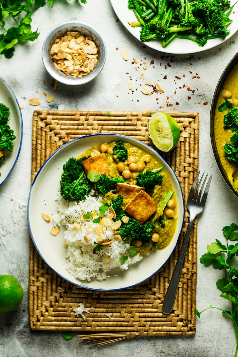 vegan tofu korma portion