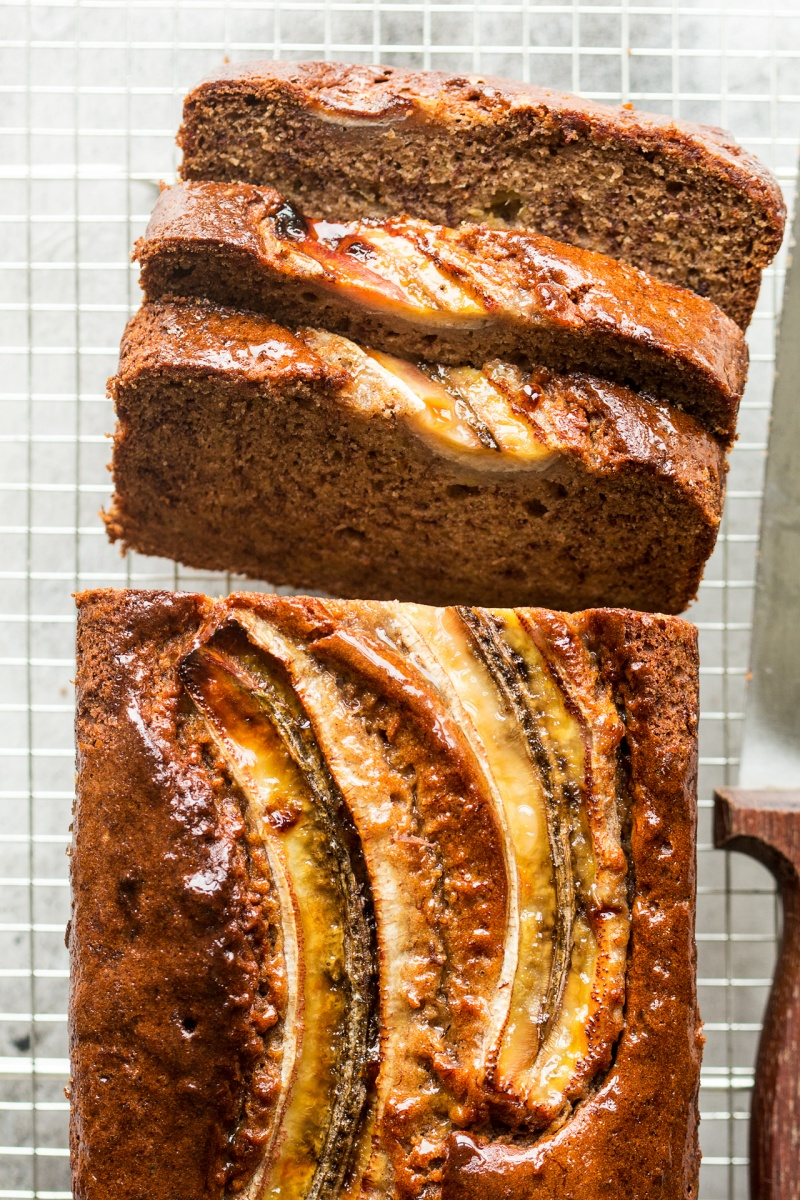 eggless banana bread cut