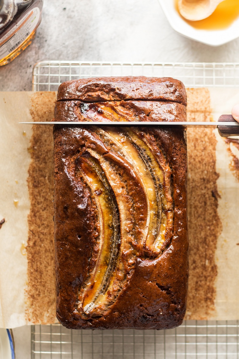 eggless banana bread cutting
