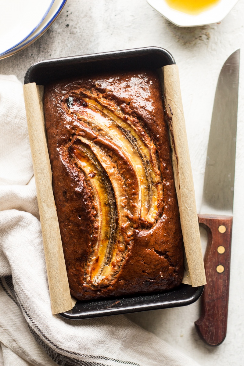 eggless banana bread tin