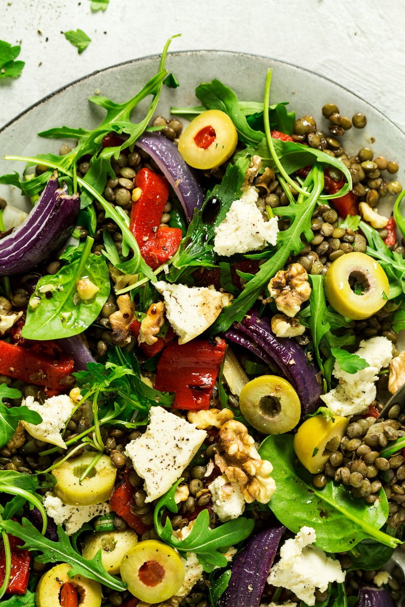 puy lentil salad almond cheese close up