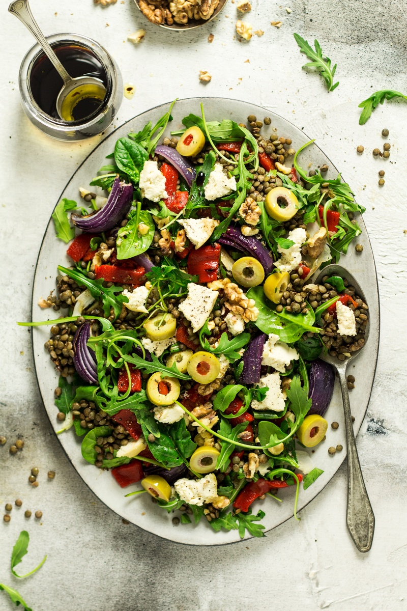 puy lentil salad almond cheese top down
