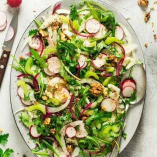 vegan fennel salad walnut dressing platter