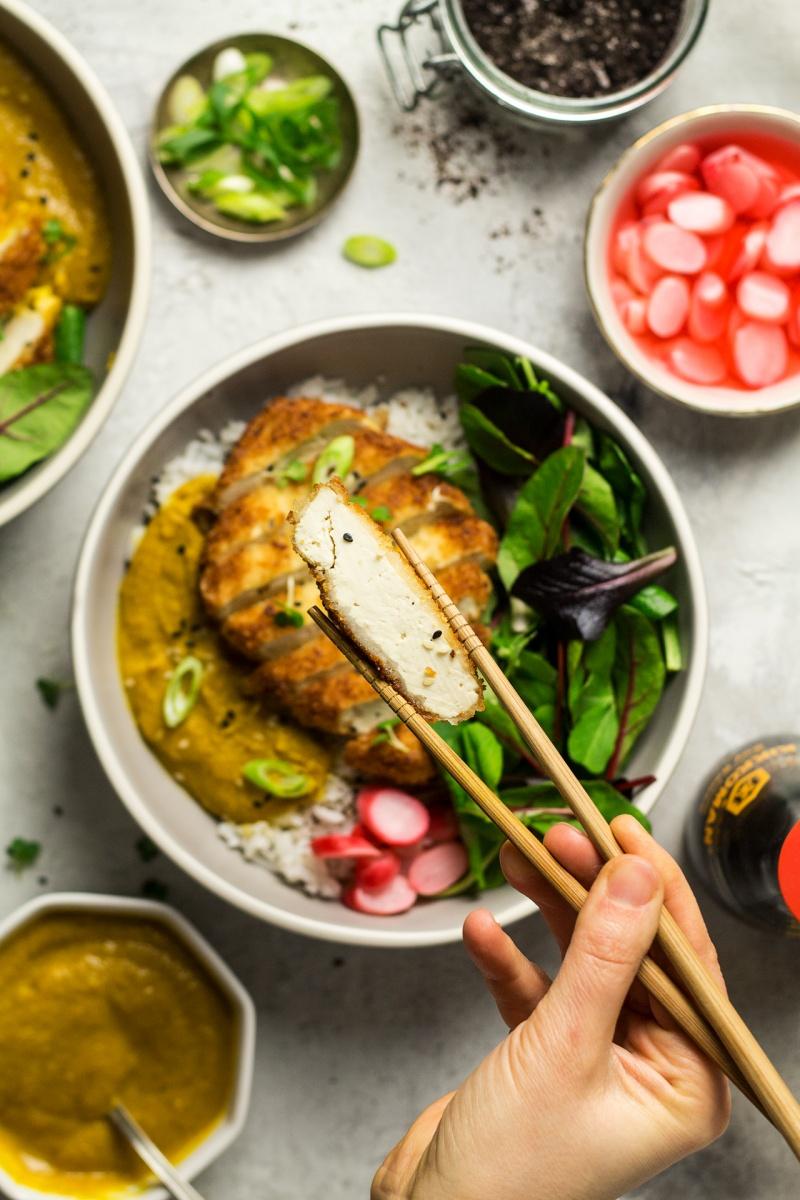 vegan katsu tofu cross section