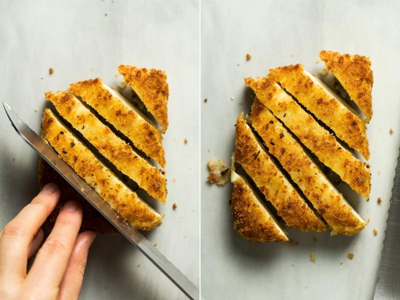 vegan katsu tofu cutting