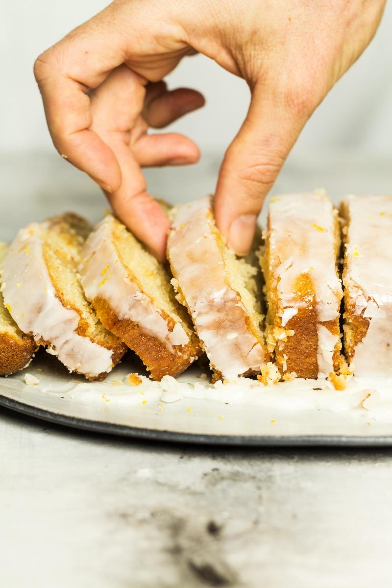 vegan lemon drizzle cake sliced side