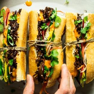 vegan pulled pork banh mi lunch