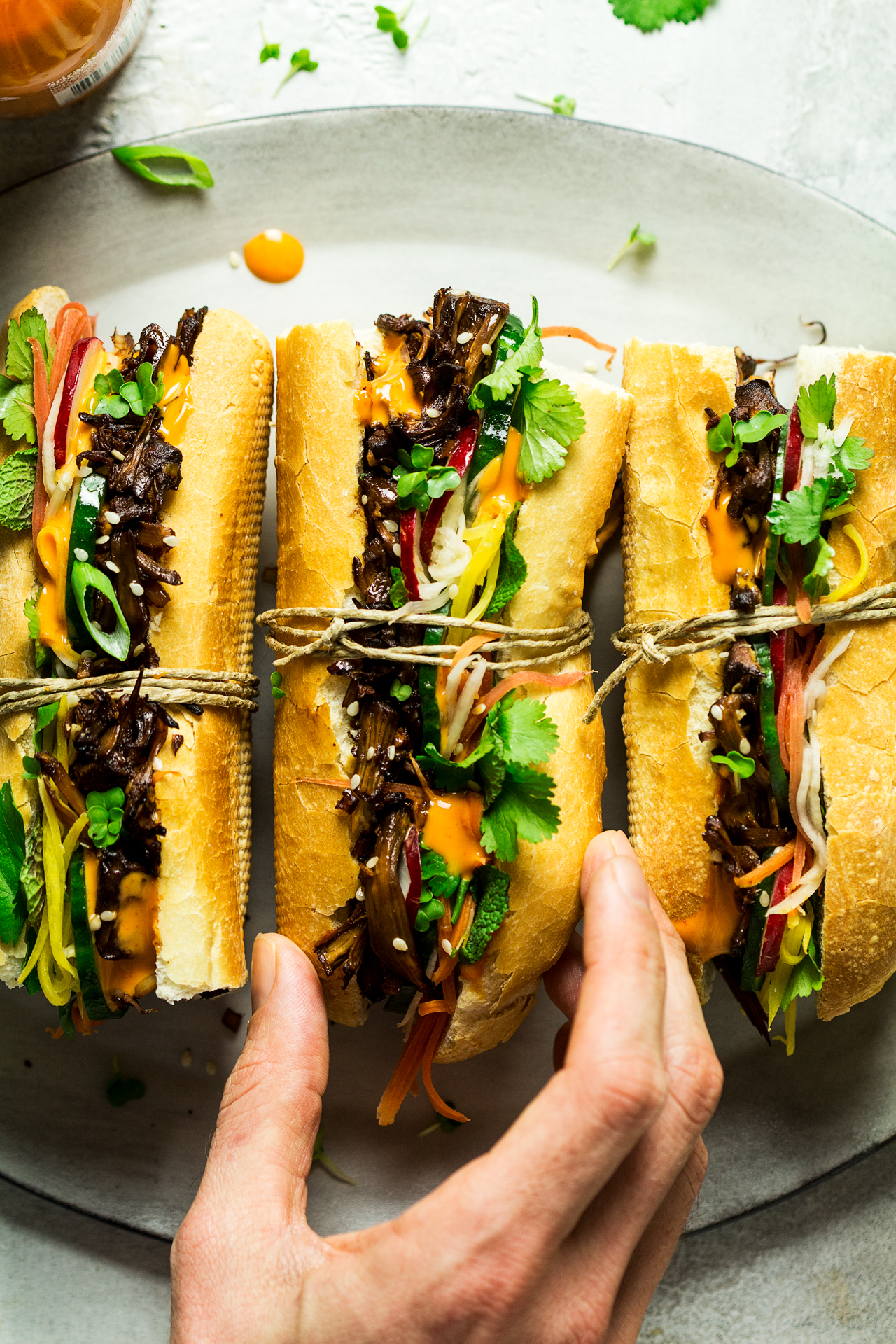 vegan pulled pork banh mi lunch