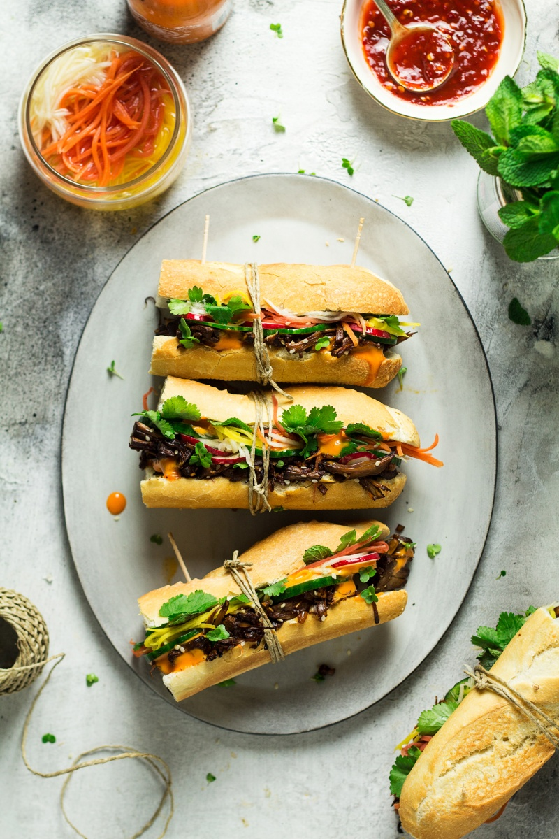 vegan pulled pork banh mi set up