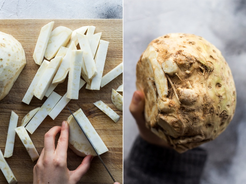 celeriac chips cutting