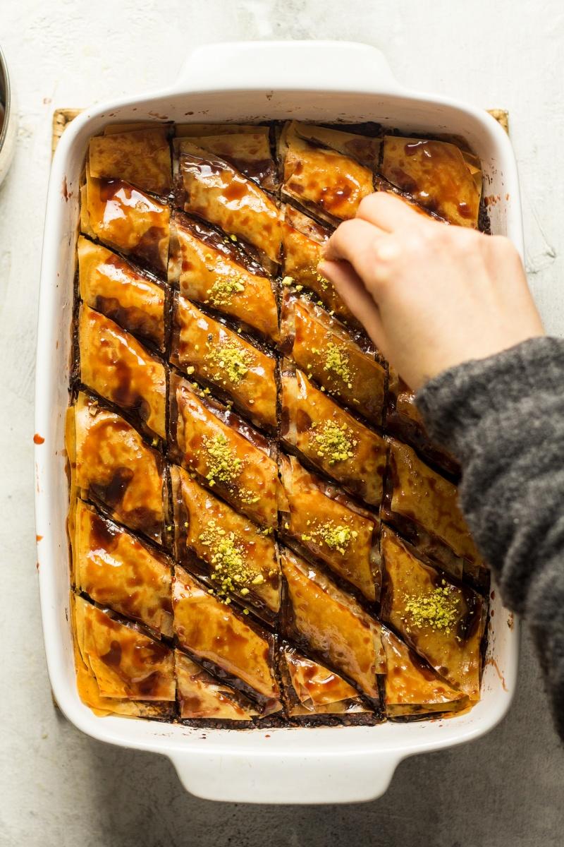 vegan date baklava pistachios