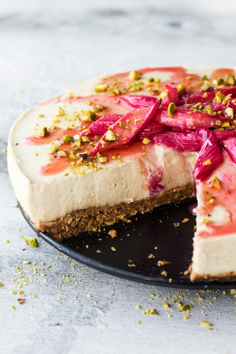 vegan white chocolate cheesecake cut