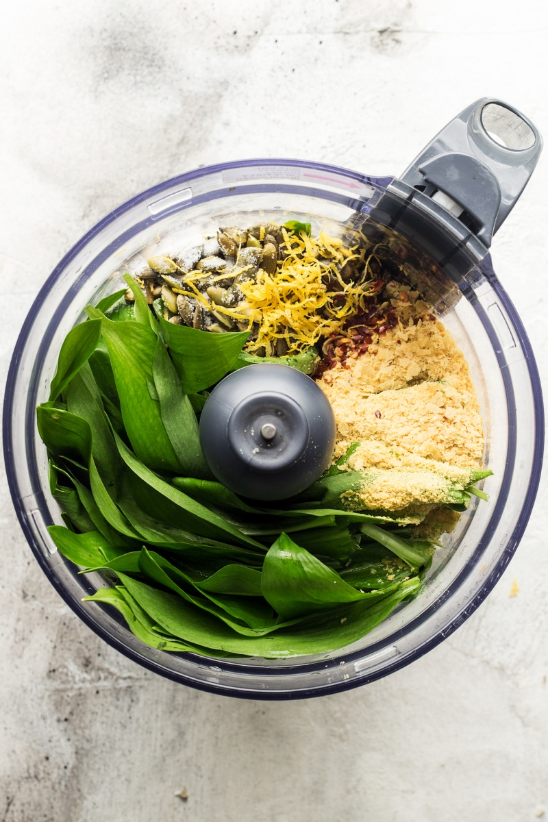 vegan wild garlic pesto food processor