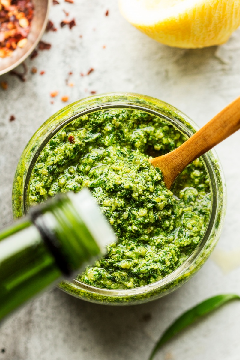 vegan wild garlic pesto olive oil topping