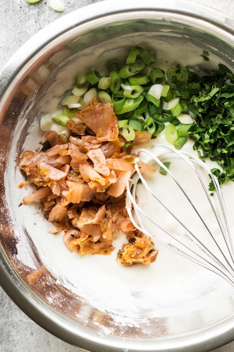 vegan kimchi pancakes mixing batter