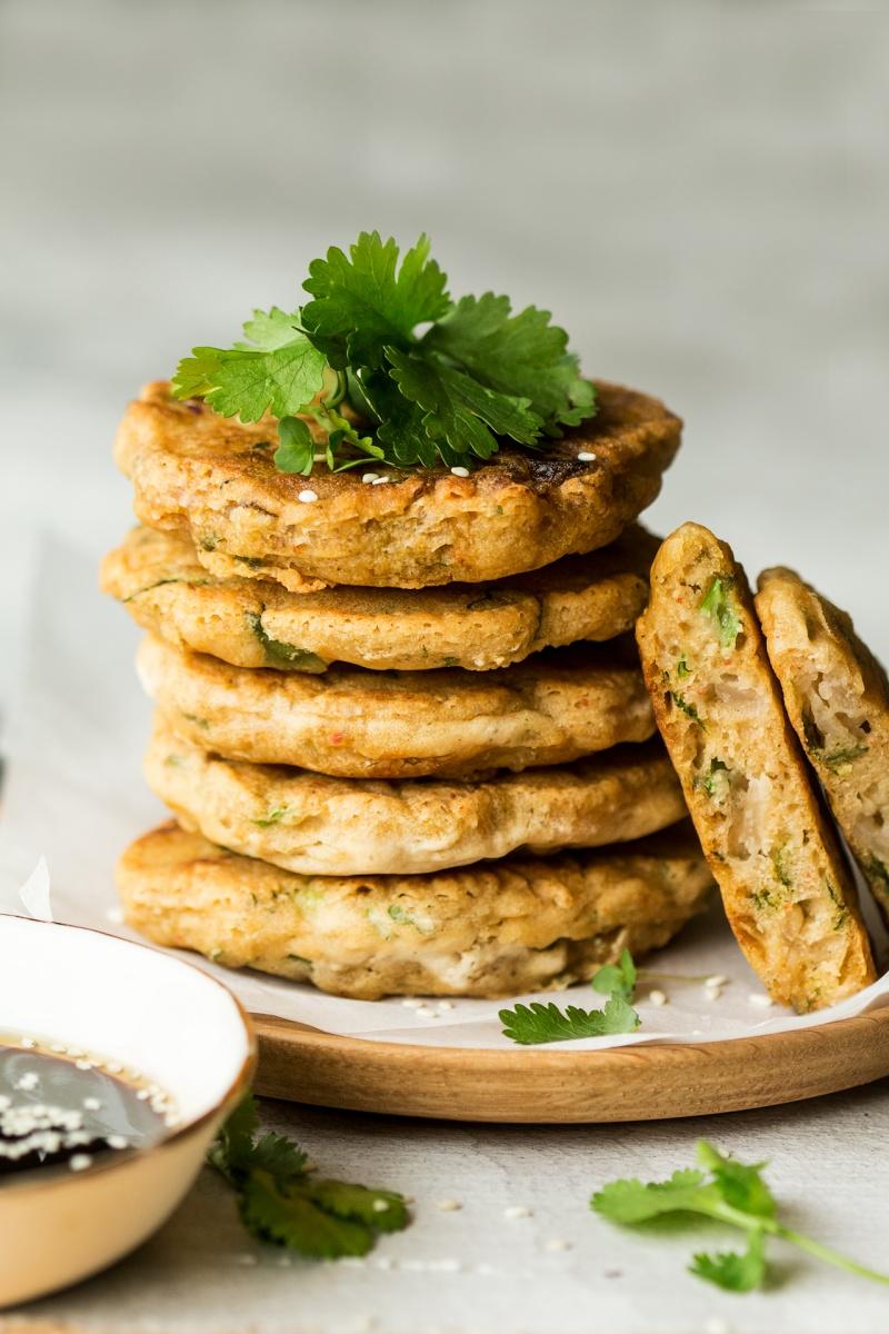 vegan kimchi pancakes stack
