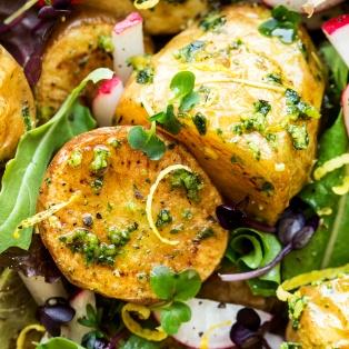 vegan potato salad pesto close up