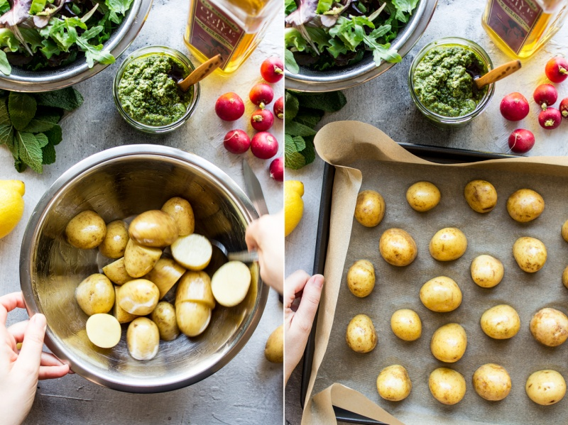 vegan potato salad pesto process