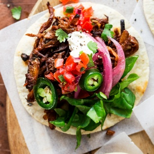 vegan pulled mushroom tacos close up