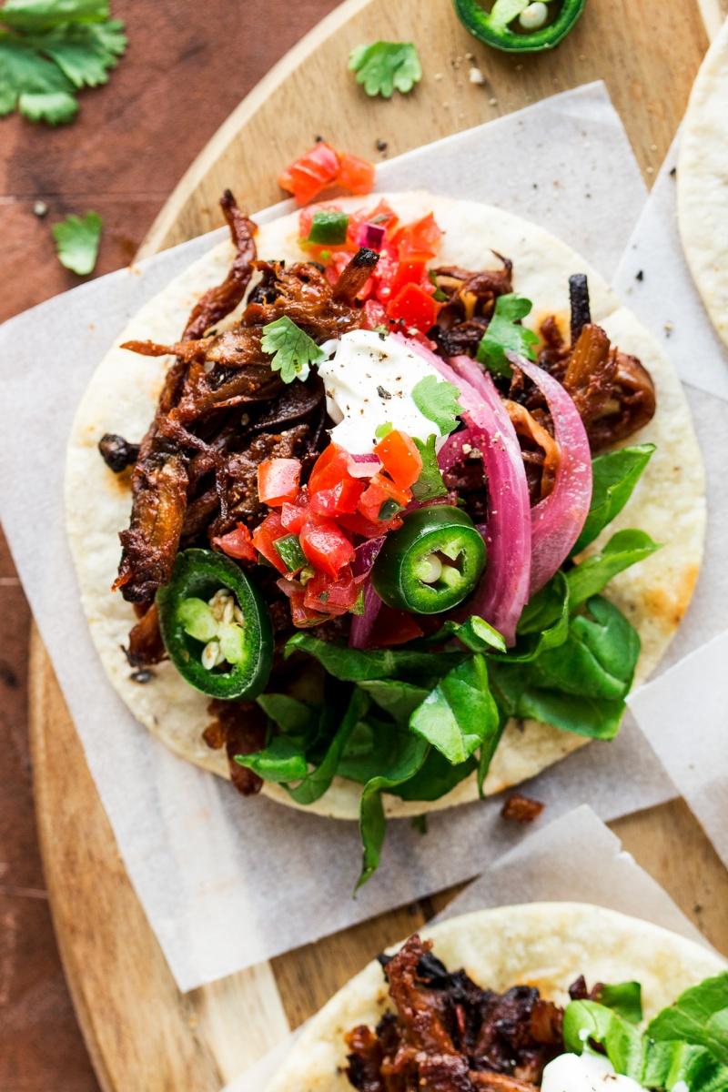 vegan pulled mushroom tacos close up