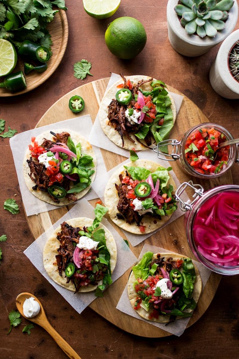 vegan pulled mushroom tacos platter