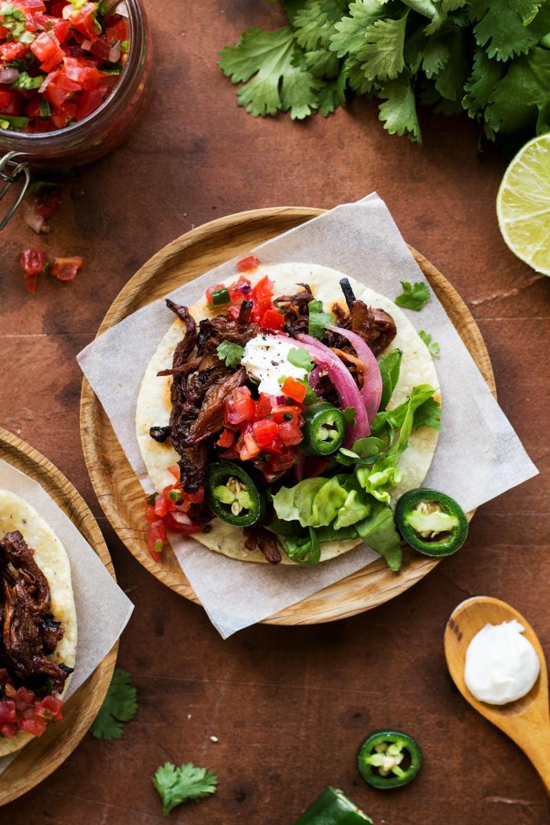 vegan pulled mushroom tacos portion