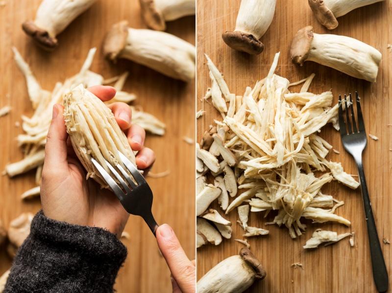 vegan pulled mushroom tacos shredded mushrooms