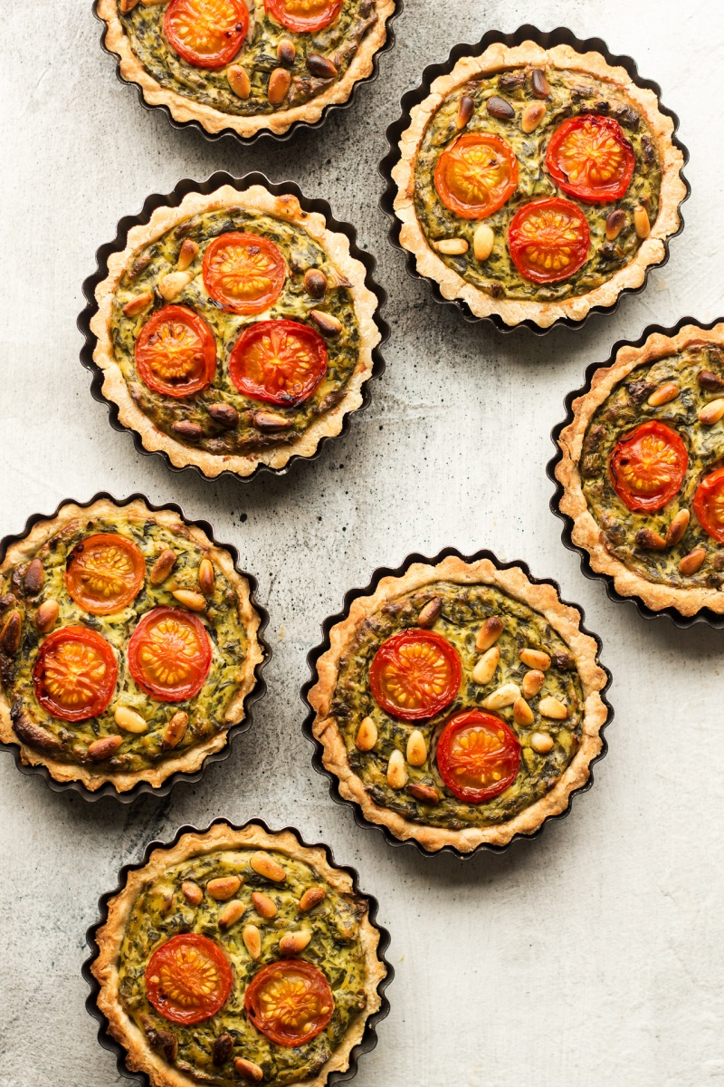 vegan quiche tarts baked